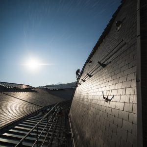 VERTIC's COMBIRAIL inclined fall protection rail system - La Rotonde